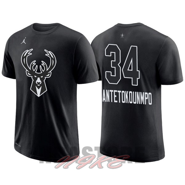 Maglia NBA 2018 All Star Manica Corta NO.34 Giannis Antetokounmpo Nero