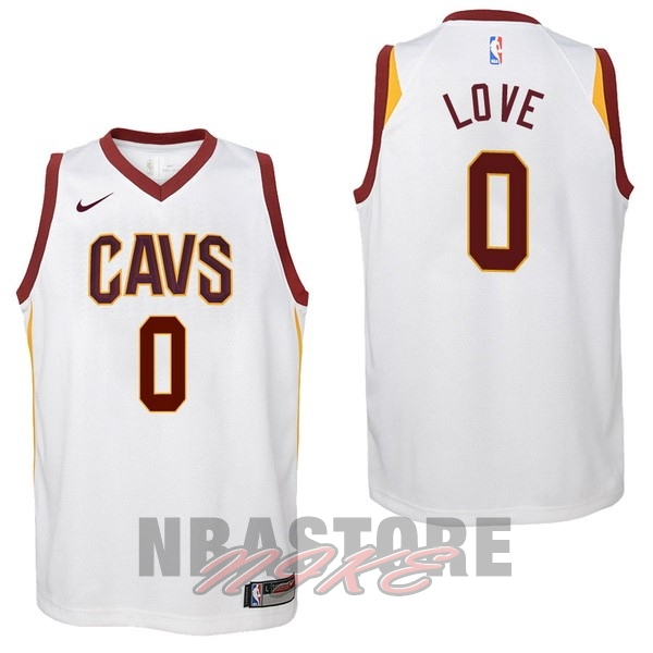 Maglia NBA Bambino Cleveland Cavaliers NO.0 Kevin Love Bianco Association 2017-18