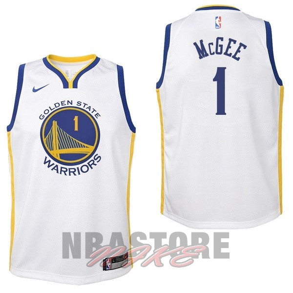 Maglia NBA Bambino Golden State Warriors NO.1 JaVale McGee Bianco Association 2017-18