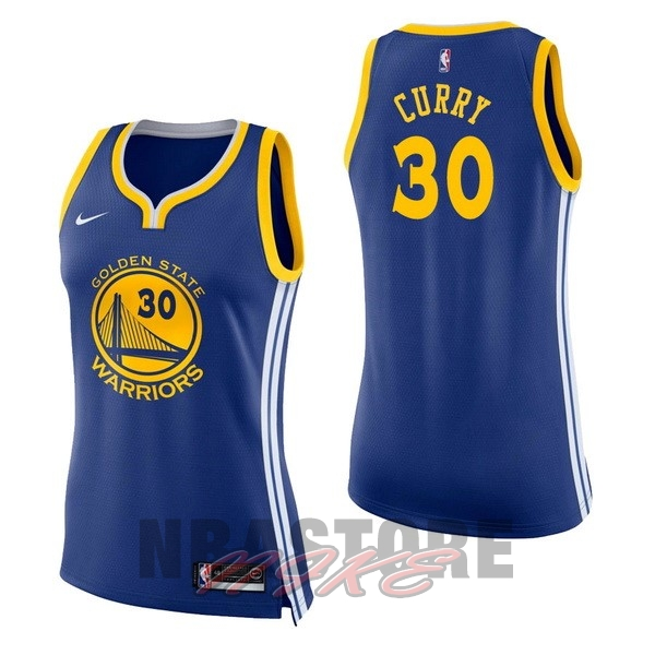 Maglia NBA Donna Golden State Warriors NO.30 Stephen Curry Blu Icon
