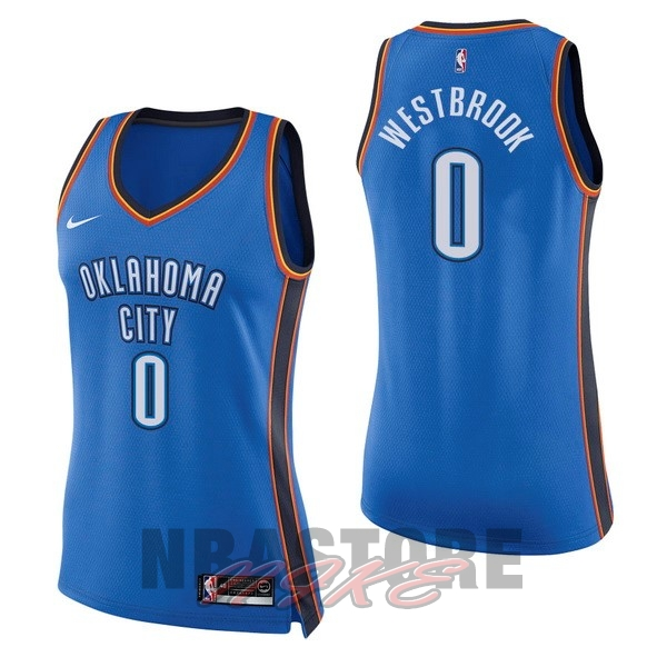 Maglia NBA Donna Oklahoma City Thunder NO.0 Russell Westbrook Blu Icon