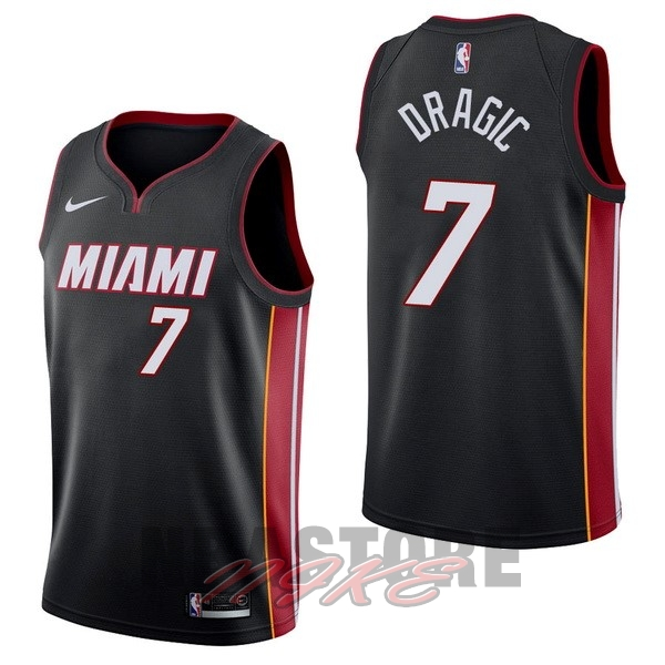 Maglia NBA Nike Miami Heat NO.7 Goran Dragic Nero Icon