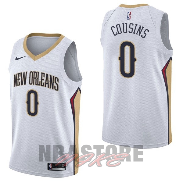 Maglia NBA Nike New Orleans Pelicans NO.0 DeMarcus Cousins Bianco Association
