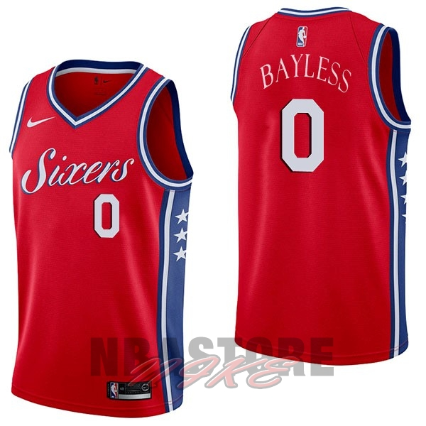 Maglia NBA Nike Philadelphia Sixers NO.0 Jerryd Bayless Rosso Statement