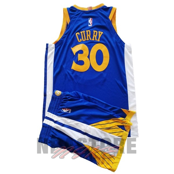 Maglia NBA Set Completo Bambino Golden State Warriors NO.30 Stephen Curry Blu 2017-18