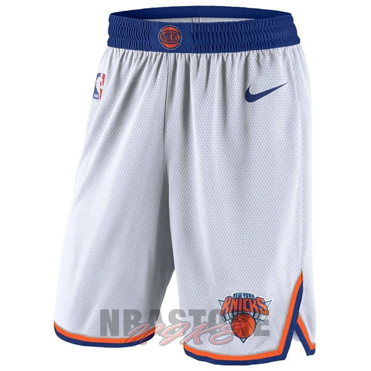 Pantaloni Basket New York Knicks Nike Bianco