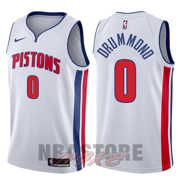 Maglia NBA Nike Detroit Pistons NO.0 Andre Drummond Bianco Association 2017-18