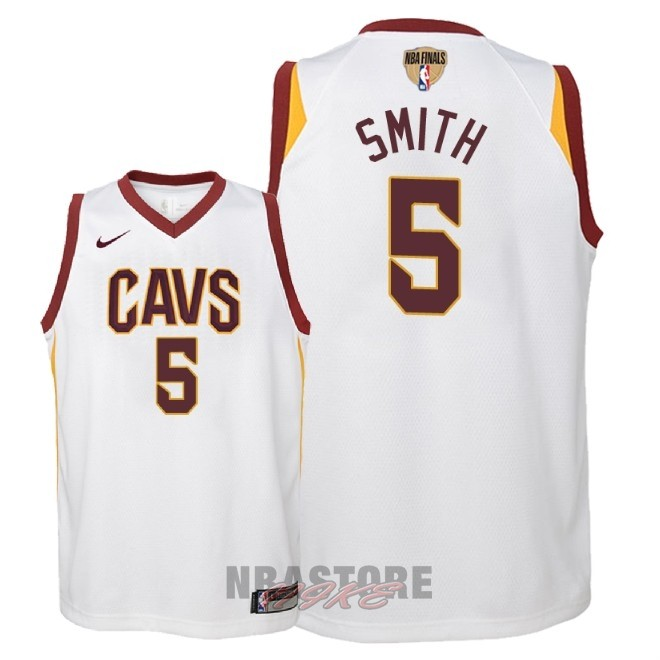 Maglia NBA Bambino Cleveland Cavaliers Finale Campioni 2018 NO.5 JR. Smith Bianco Association Patch
