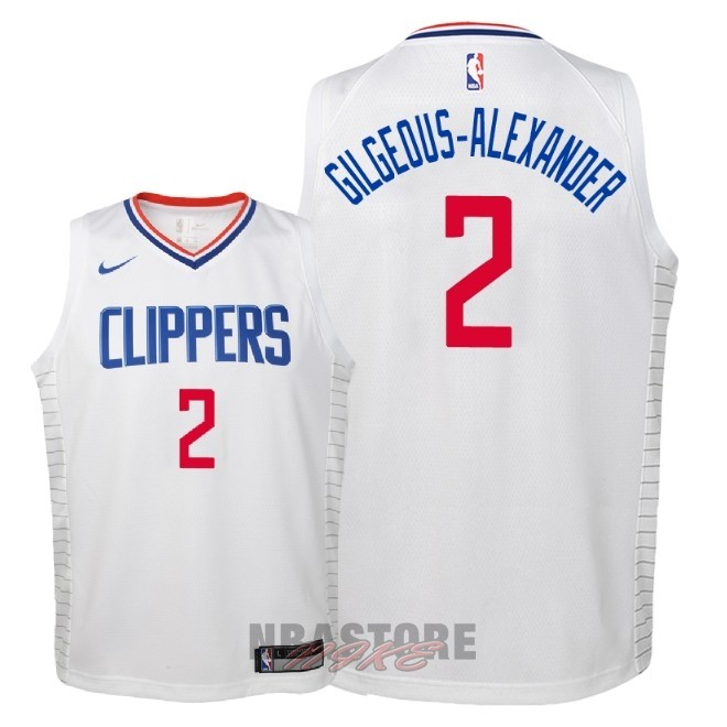 Maglia NBA Bambino L.A.Clippers NO.2 Shai Gilgeous Alexander Bianco Association 2018
