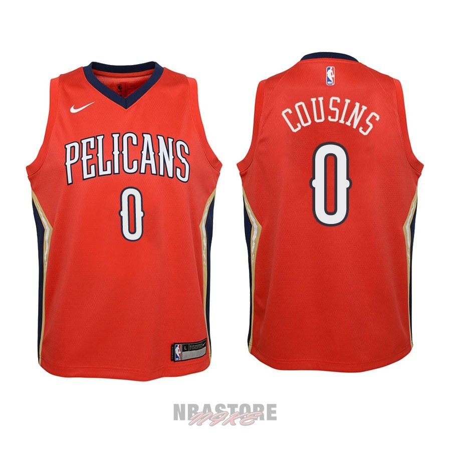 Maglia NBA Bambino New Orleans Pelicans NO.0 DeMarcus Cousins Rosso Statement 2018