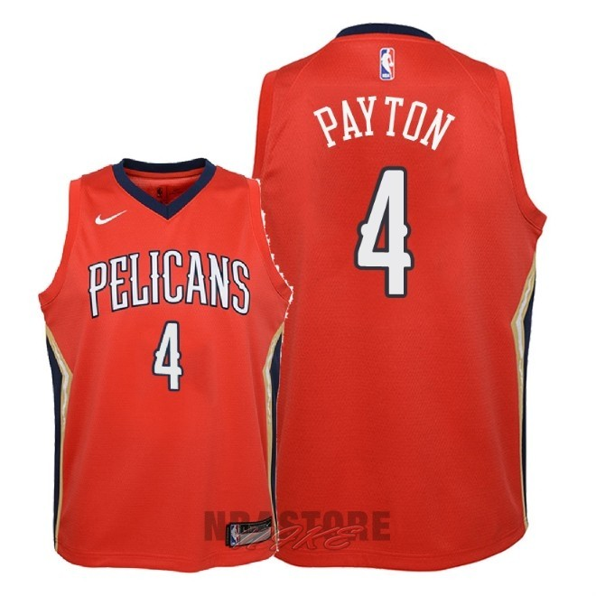 Maglia NBA Bambino New Orleans Pelicans NO.4 Elfrid Payton Rosso Statement 2018