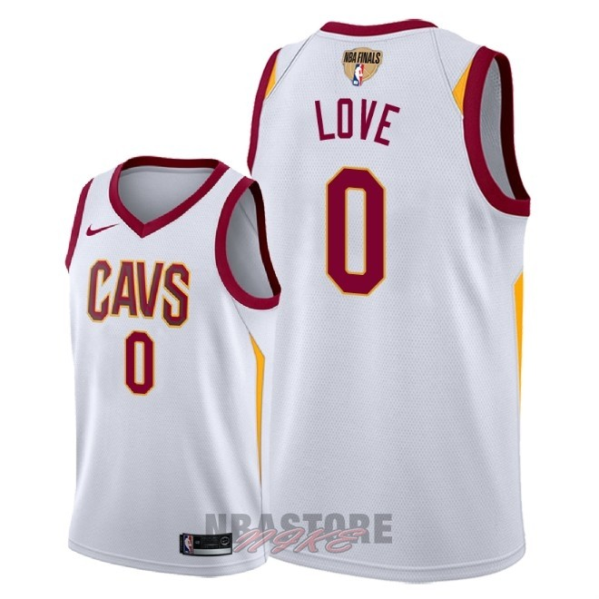 Maglia NBA Cleveland Cavaliers 2018 Campionato Finali NO.0 Kevin Love Bianco Association Patch
