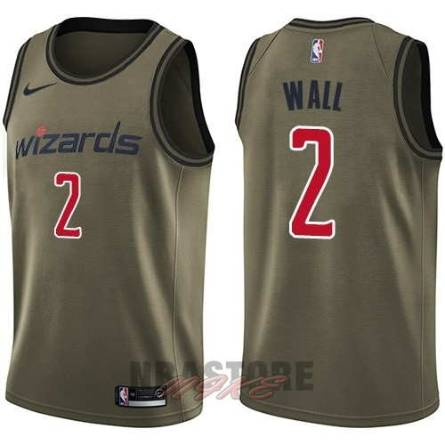 Maglia NBA Washington Wizards Servizio Di Saluto NO.2 John Wall Nike Army Green 2018