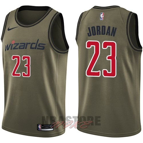 Maglia NBA Washington Wizards Servizio Di Saluto NO.23 Michael Jordan Nike Army Green 2018