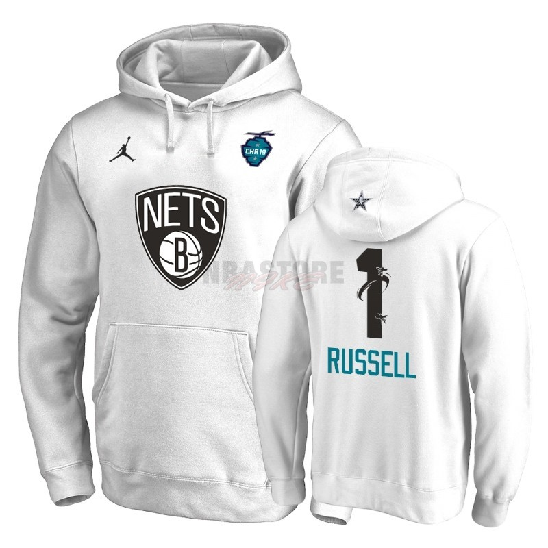 Felpe Con Cappuccio NBA 2019 All Star Brooklyn Nets NO.1 D'Angelo Russell Bianco