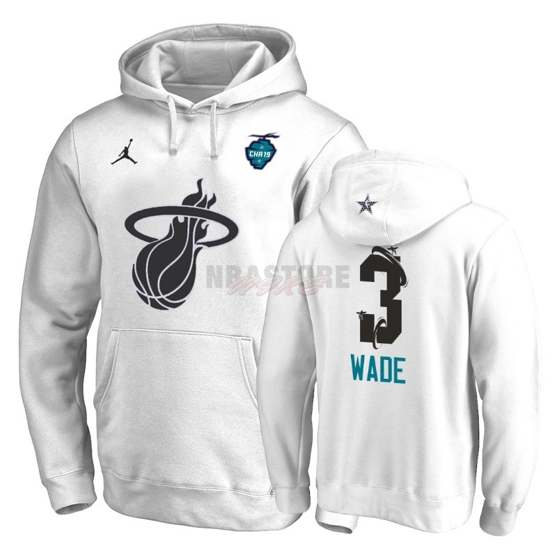 Felpe Con Cappuccio NBA 2019 All Star Miami Heat NO.3 Dwyane Wade Bianco