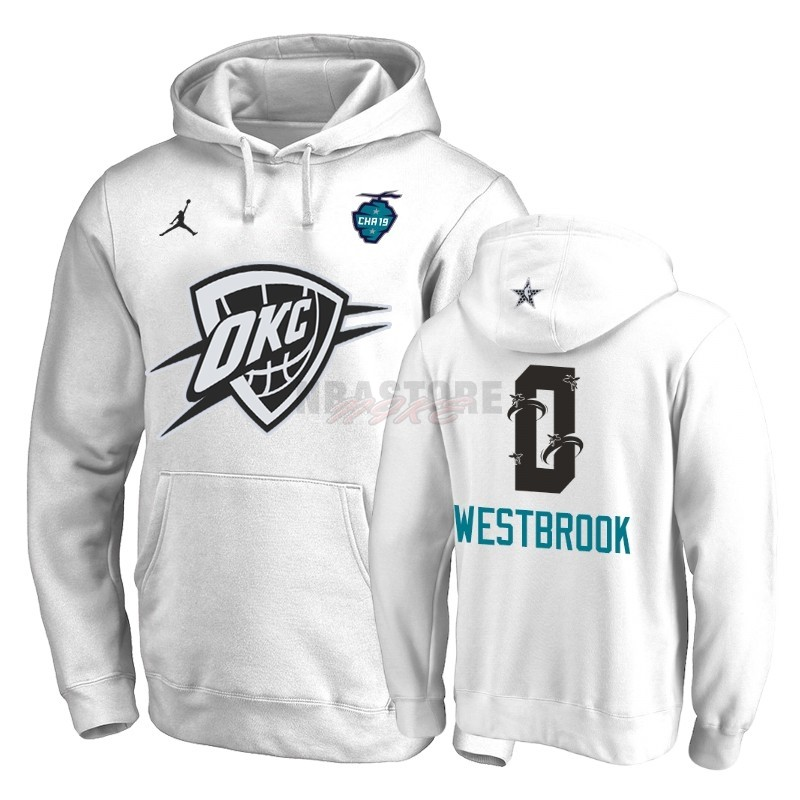 Felpe Con Cappuccio NBA 2019 All Star Oklahoma City Thunder NO.0 Russell Westbrook Bianco