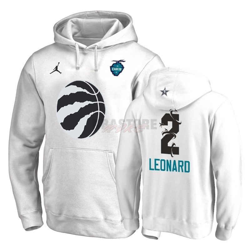 Felpe Con Cappuccio NBA 2019 All Star Toronto Raptors NO.2 Kawhi Leonard Bianco