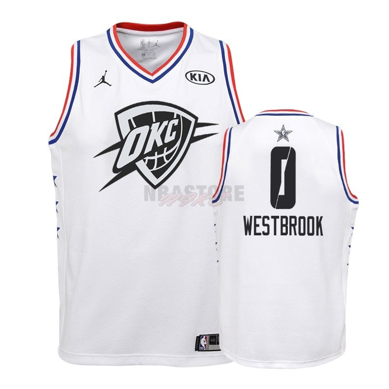 Maglia NBA Bambino 2019 All Star NO.0 Russell Westbrook Bianco