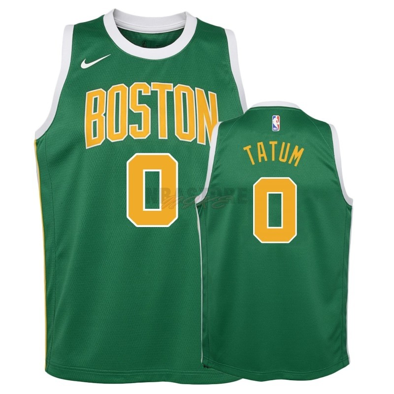Maglia NBA Bambino Earned Edition Boston Celtics NO.0 Jayson Tatum Verde 2018-19