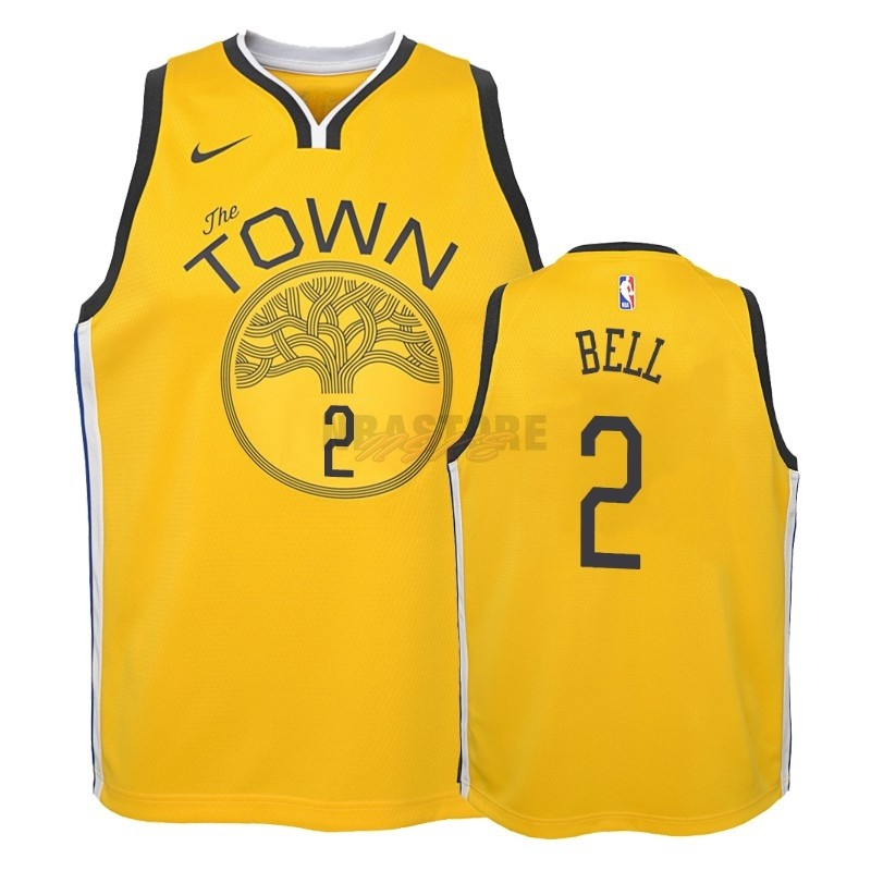 Maglia NBA Bambino Earned Edition Golden State Warriors NO.2 Jordan Bell Giallo 2018-19