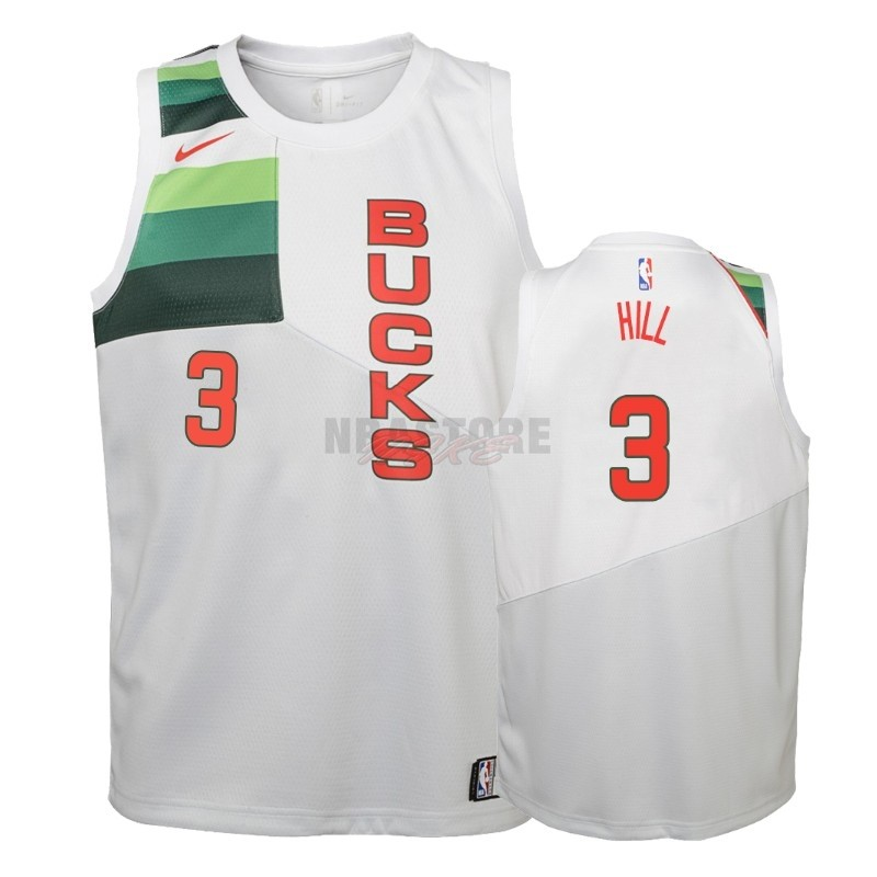 Maglia NBA Bambino Earned Edition Milwaukee Bucks NO.3 George Hill Bianco 2018-19