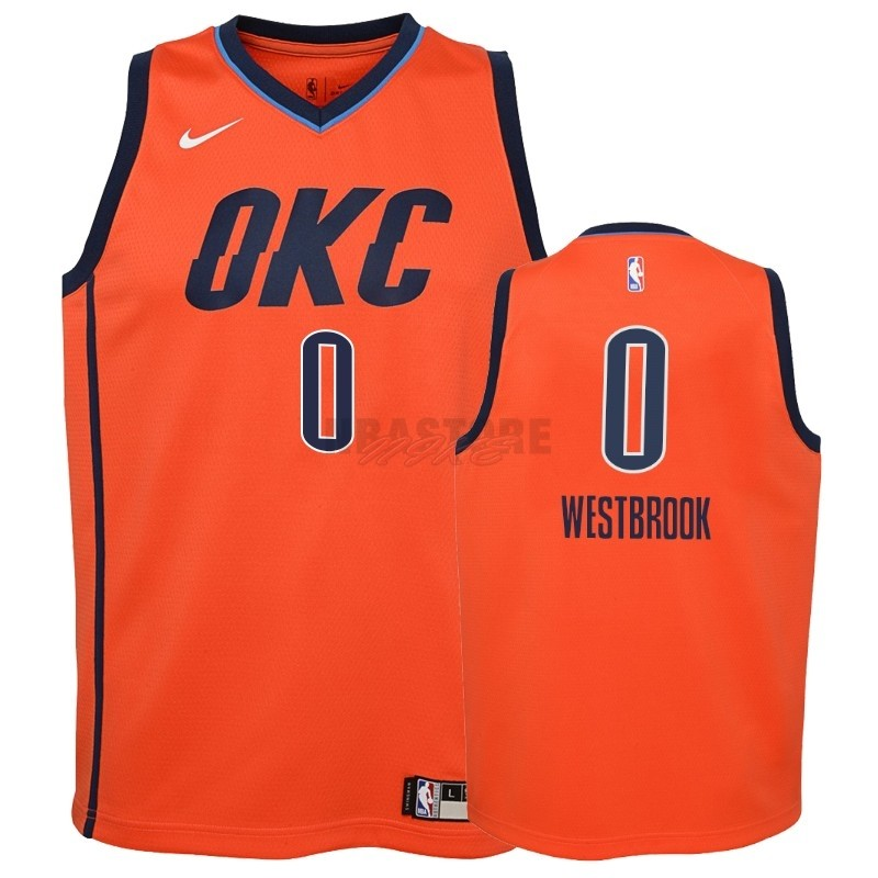 Maglia NBA Bambino Earned Edition Oklahoma City Thunder NO.0 Russell Westbrook Arancia 2018-19