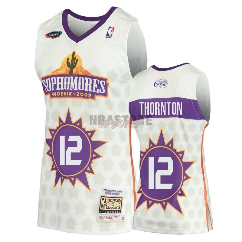 Maglia NBA Los Angeles Clippers NO.12 Al Thornton Bianco Hardwood Classics 2009