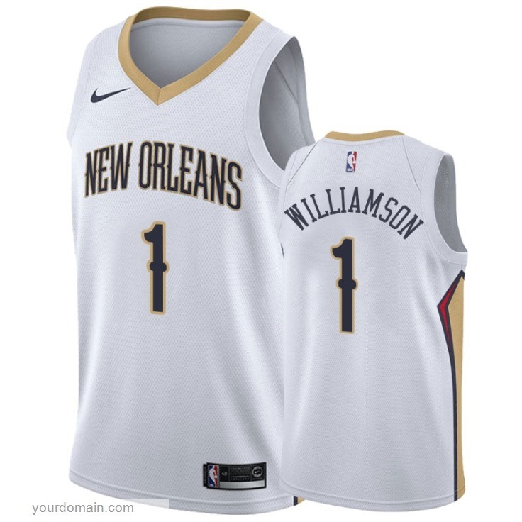 Maglia NBA Nike New Orleans Pelicans NO.1 Zion Williamson Bianco Association