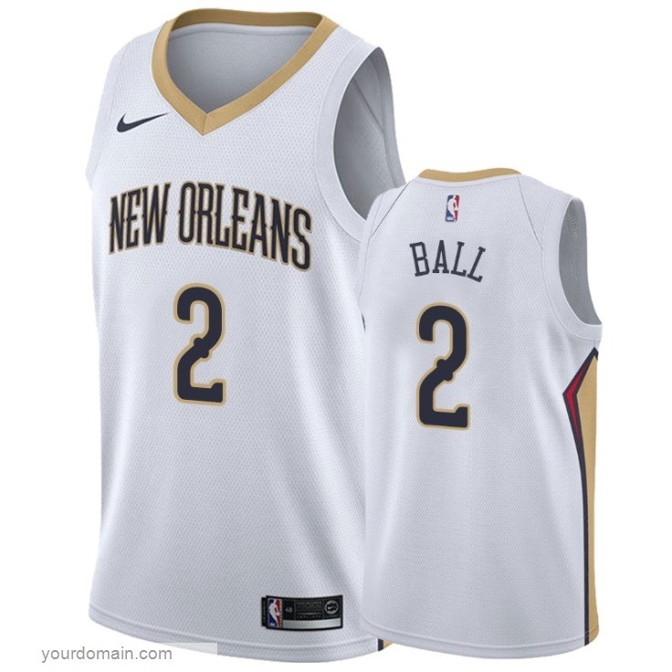 Maglia NBA Nike New Orleans Pelicans NO.2 Lonzo Ball Bianco Association 2019-20