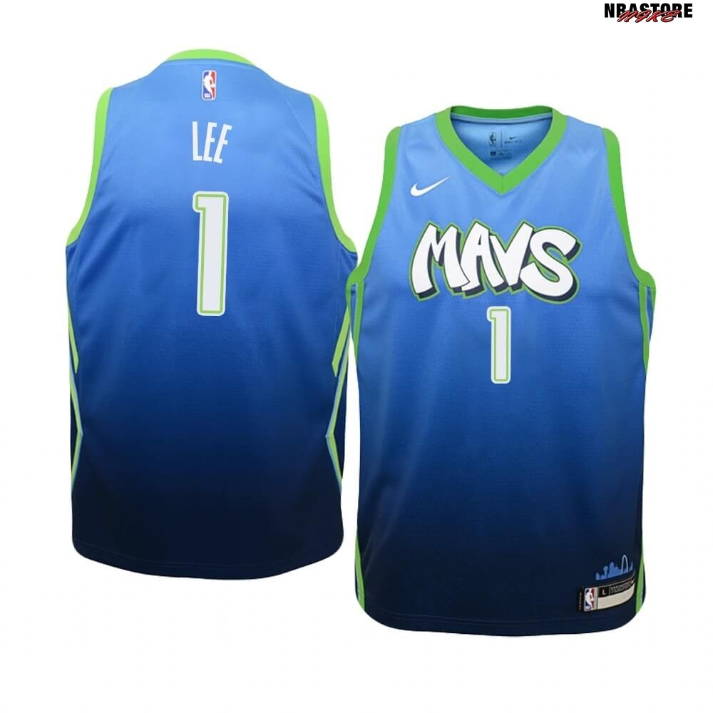 Maglia NBA Bambino Dallas Mavericks NO.1 Courtney Lee Nike Blu Città 2019-20