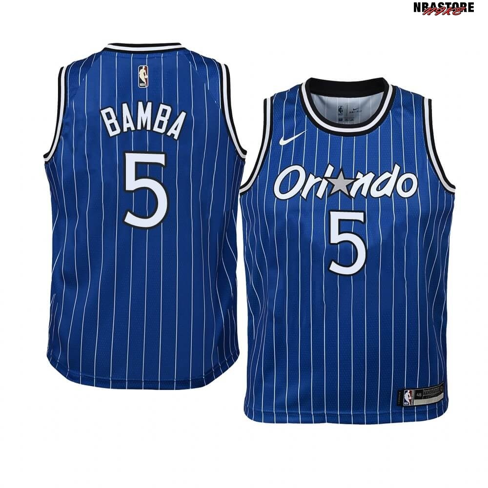 Maglia NBA Bambino Orlando Magic NO.5 Mohamed Bamba Blu Hardwood Classics