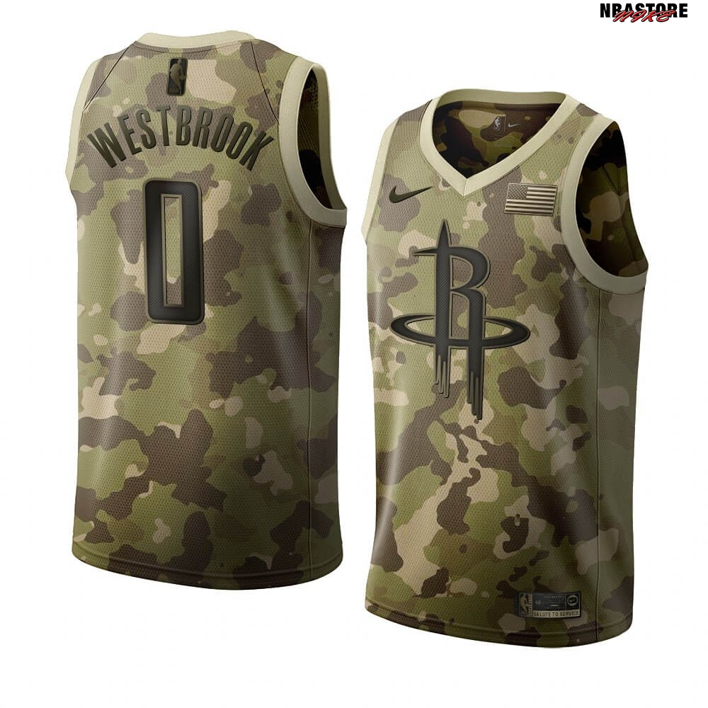 Maglia NBA Nike Houston Rockets NO.0 Russell Westbrook Camouflage 2019