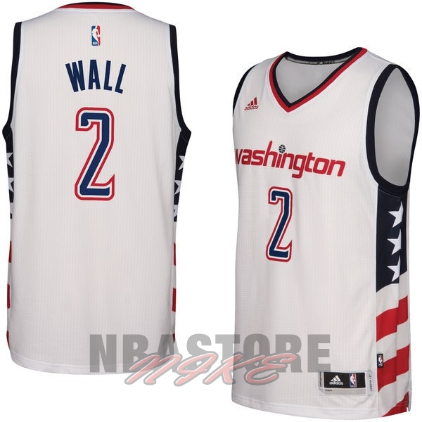 Maglia NBA Washington Wizards NO.2 John Wall Bianco 2016-2017