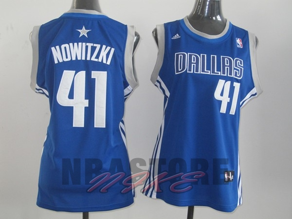 Maglia NBA Donna Dallas Mavericks NO.41 Dirk Nowitzki Blu