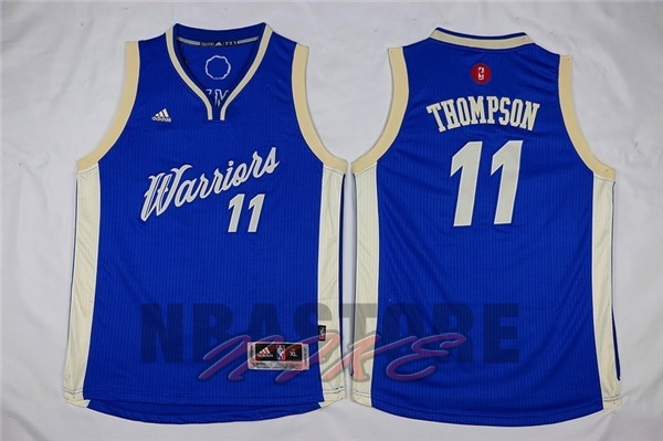 Maglia NBA Bambino 2015 Natale Golden State Warriors NO.11 Klay Thompson Blu
