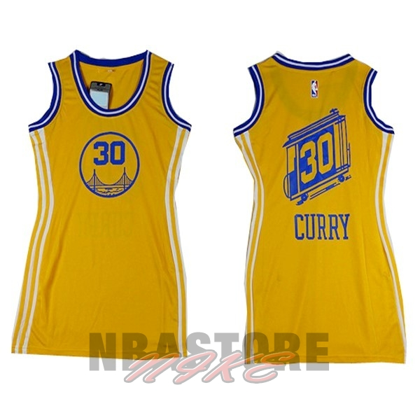 Maglia NBA Donna Golden State Warriors NO.30 Stephen Curry Giallo