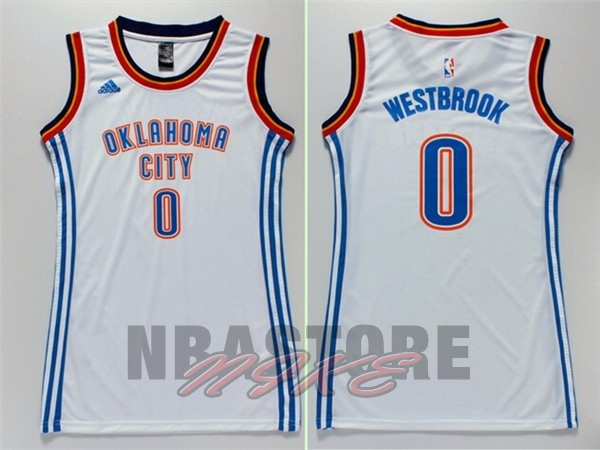 Maglia NBA Donna Oklahoma City Thunder NO.0 Russell Westbrook Bianco