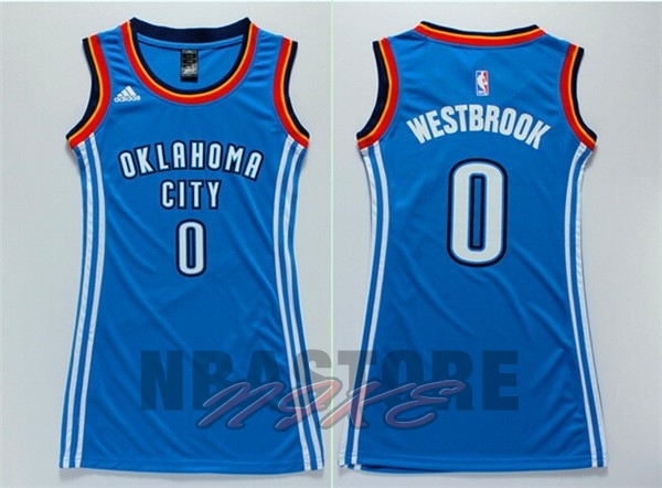 Maglia NBA Donna Oklahoma City Thunder NO.0 Russell Westbrook Blu