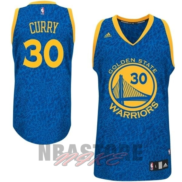 Maglia NBA Golden State Warriors Luce Leopard NO.30 Curry Blu