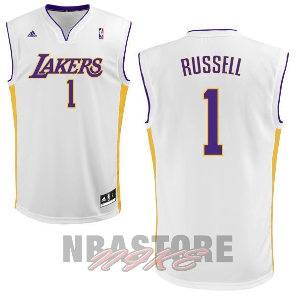 Maglia NBA Los Angeles Lakers NO.1 D'Angelo Russell Bianco