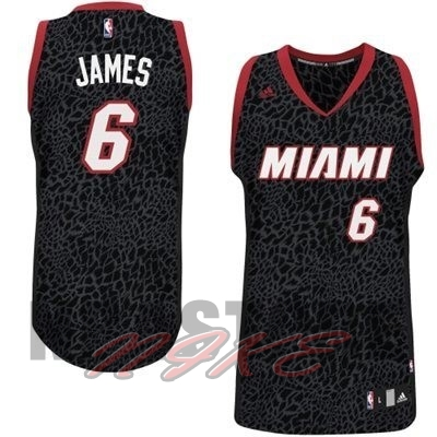 Maglia NBA Miami Heat Luce Leopard NO.6 James Nero