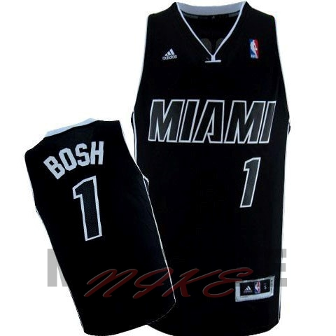 Maglia NBA Miami Heat NO.1 Chris Bosh Nero