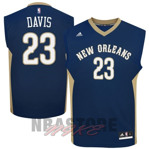 Maglia NBA New Orleans Pelicans NO.23 Anthony Davis Blu