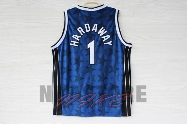 Maglia NBA Orlando Magic NO.1 Anfernee Hardaway Blu Scuro