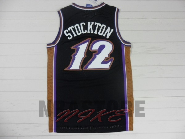 Maglia NBA Utah Jazz NO.12 John Stockton Retro Nero