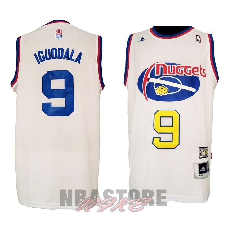 Maillo ABA Denver Nuggets NO.9 Igudala Bianco
